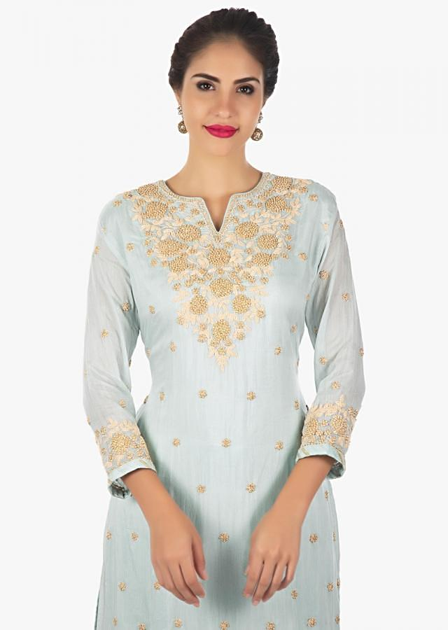 Frost blue palazzo suit embellished with chord work , moti and zardosi  only on kalki