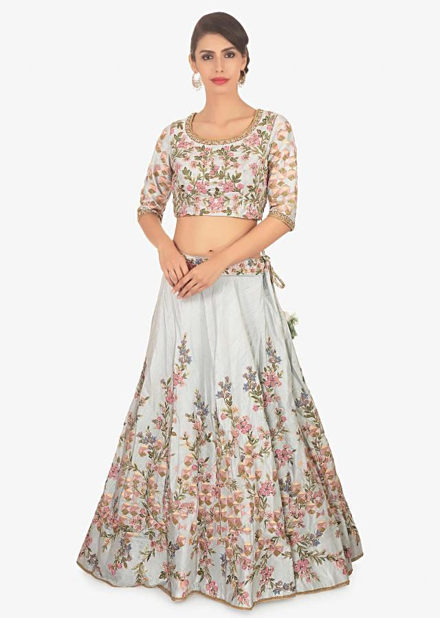 Frost Blue Lehenga Set In Embroidered Raw Silk Paired With Peach Net Dupatta Online - Kalki Fashion