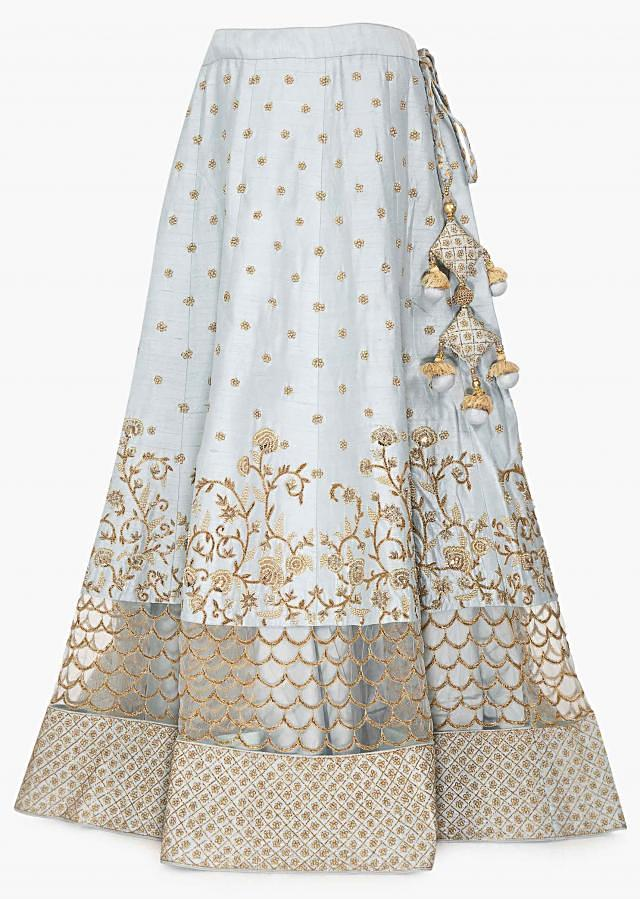 Frost Blue Lehenga Set In Raw Silk And Net Embellished In Cut Dana, Moti Floral Embroidery Online - Kalki Fashion