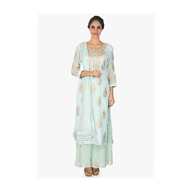 Frost Blue Suit And Palazzo Pant With Weaved Pattern Online - Kalki Fashion