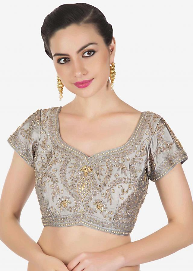 Frost grey saree in satin crepe with thread and kundan border only on Kalki
