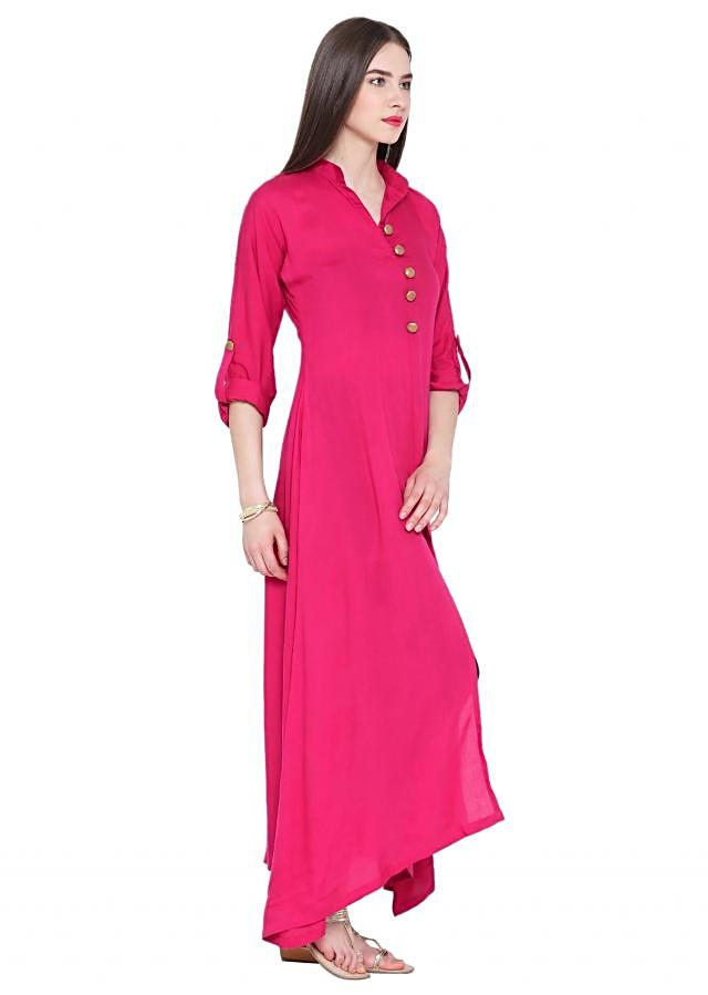 Fuchsia A Line Kurta with Front Slit