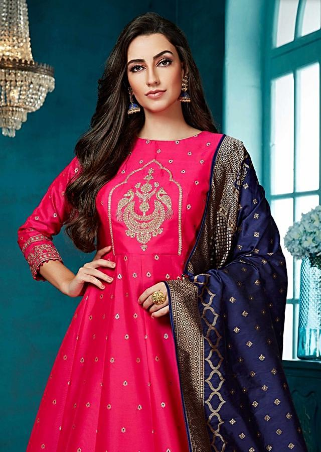 Fuchsia Pink Anarkali Suit With Embroidered Heritage Motif And Weaved Pattern Online - Kalki Fashion
