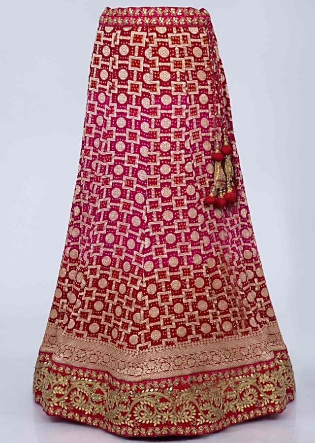 Fuchsia Pink And Red Shaded Lehenga With Bandhani Print And Red Brocade Dupatta Online - Kalki Fashion