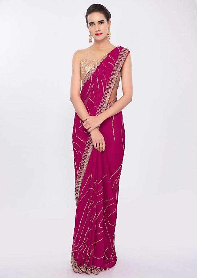 Fuchsia pink chiffon saree in cut dana embroidery and butti only on Kalki