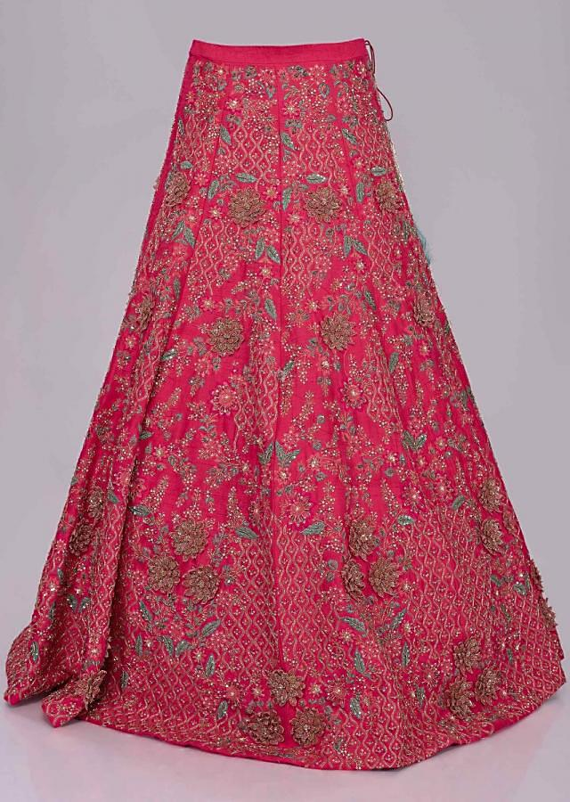 Fuchsia pink corset lehenga set with draped back cowl jacket only on Kalki
