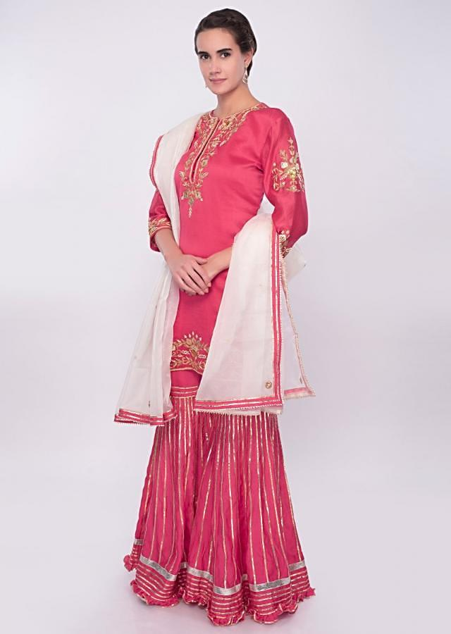 Fuchsia Pink Sharara Suit Set In Cotton Silk Online - Kalki Fashion