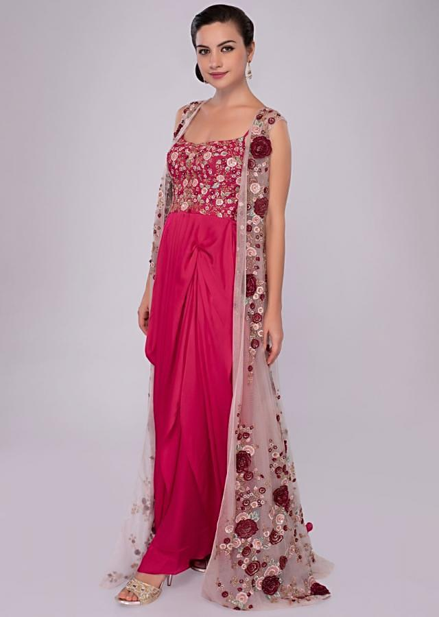 Deepika Singh in Kalki fuchsia pink cowl drape gown with embroidered jacket