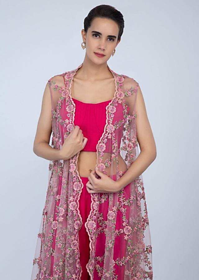 Fuchsia Pink Palazzo And Corset Top With Powder Pink Floral Embroidered Net Jacket Online - Kalki Fashion