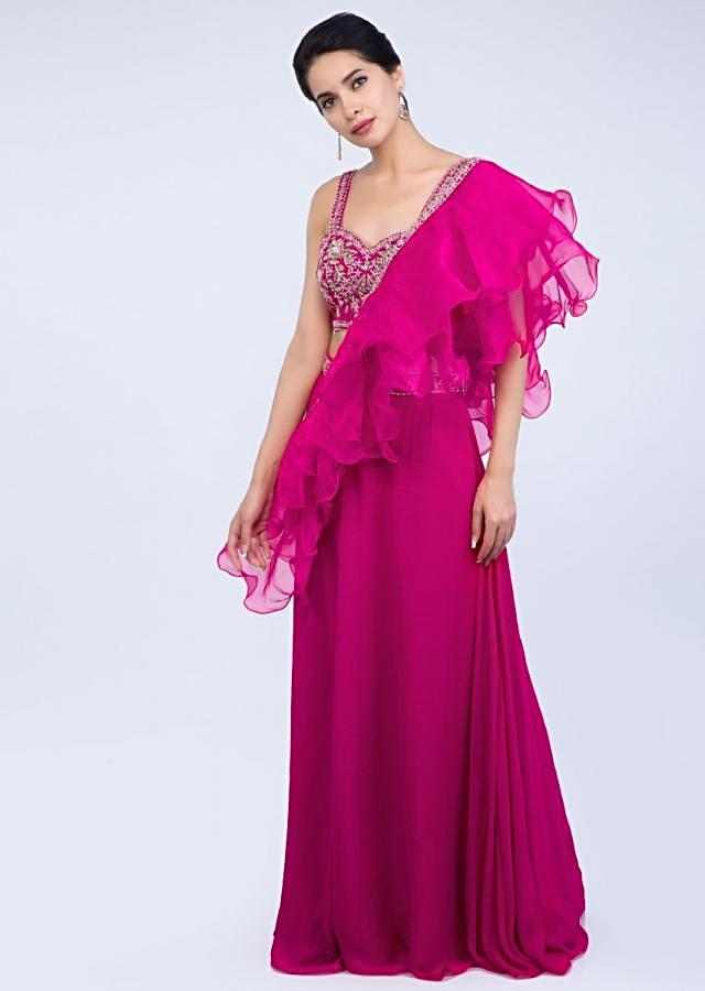 Fuchsia Pink Palazzo And Embroidered Crop Top With Organza Ruffled Dupatta Online - Kalki Fashion