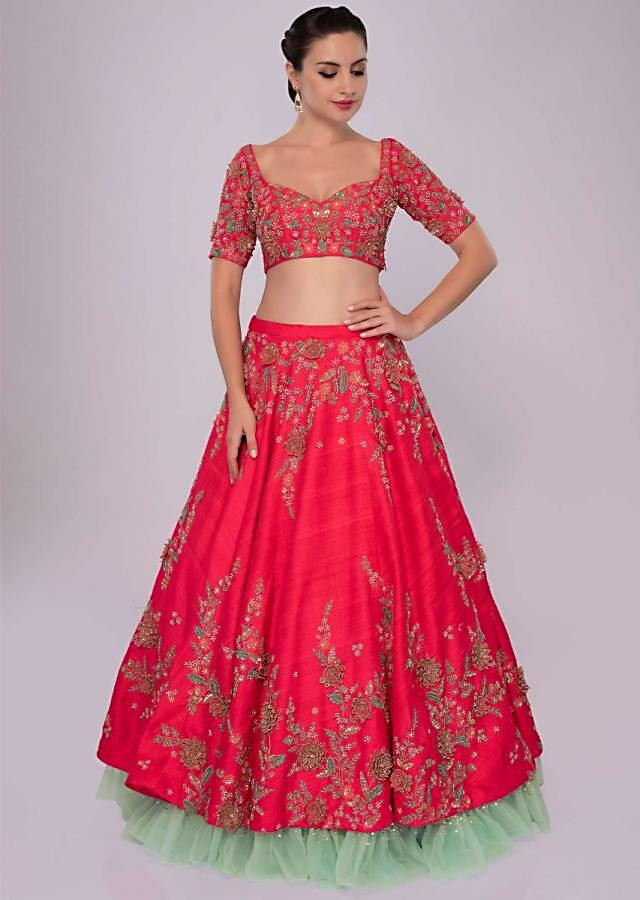 Fuchsia pink raw silk lehenga set  with 3D floral embroidery only on Kalki