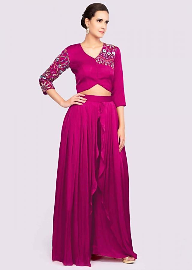 Fuchsia Pink Layered Palazzo In Crepe With Matching Crop Top Online - Kalki Fashion