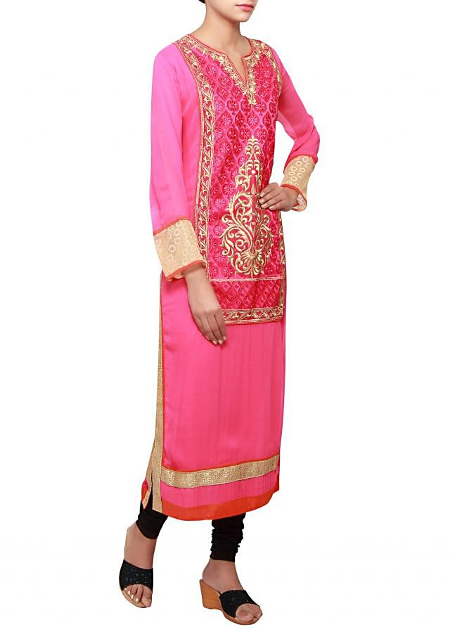 Fuschia a-line long kurti in georgette embellished in resham and zari only on Kalki