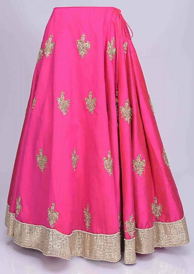 Fuschia pink raw silk lehenga with floral printed draped cotton dupatta only on Kalki