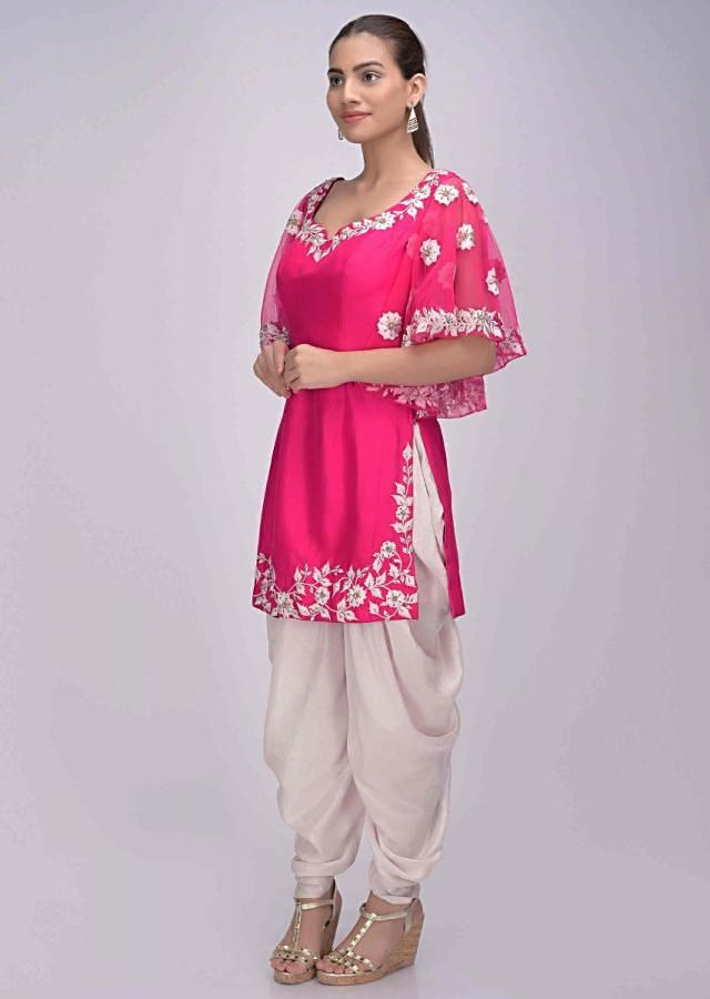 Fuschia pink suit in cotton silk with powder pink crepe dhoti only on Kalki