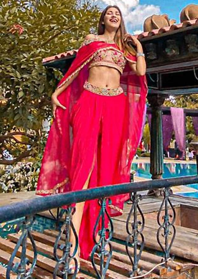 Fuschia Rose Crop Top And Dhoti Pants With Embossed Embroidery And Organza Cape Online - Kalki Fashion