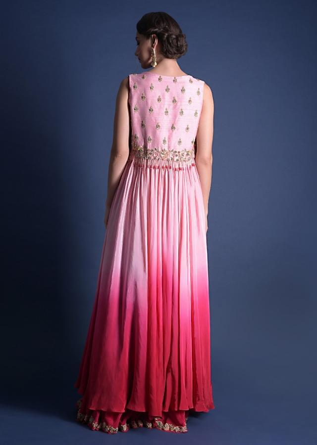 Fuschia Rose Flared Palazzo Crop Top And Jacket Suit With Geometric Embroidery Work Online - Kalki Fashion