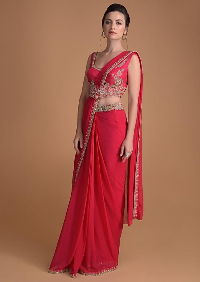 Fuschia Rose Ready Stitched Saree In Georgette With Flroal Embroidery Online - Kalki Fashion