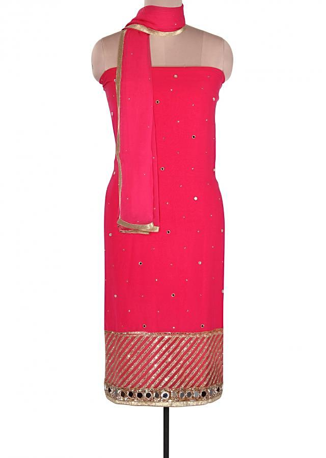 Fuschia suit adorn in mirror and sequin embroidery only on Kalki