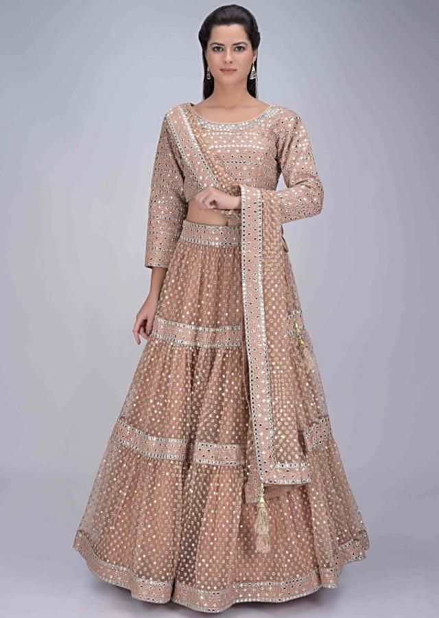 Ginger Beige Tiered Lehenga Set In Net With Abla Embroidery Online - Kalki Fashion