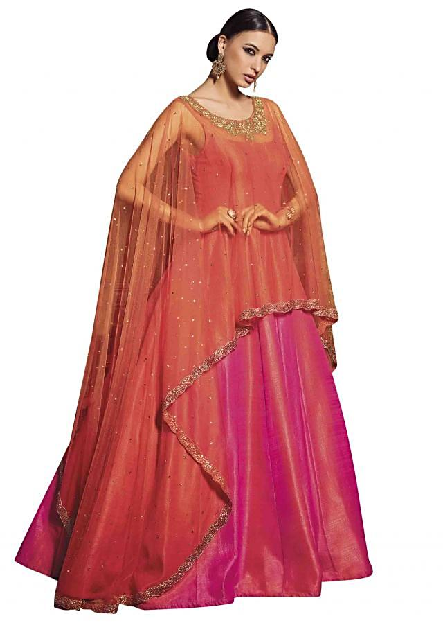 Rani pink anarkali suit with attached cape only on Kalki