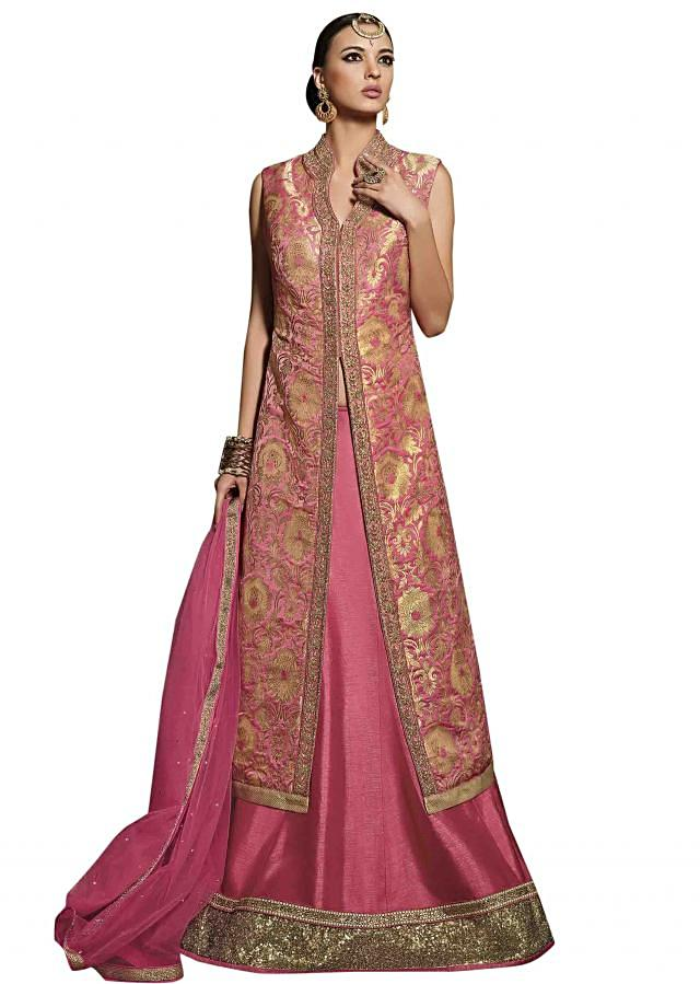 Pink lehenga matched with long jacket blouse only on Kalki