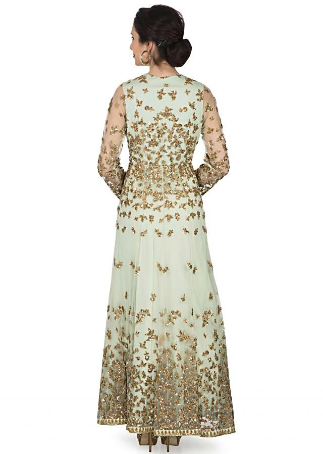 Gleam green gown in net embellished in sequin and zari embroidery only on Kalki