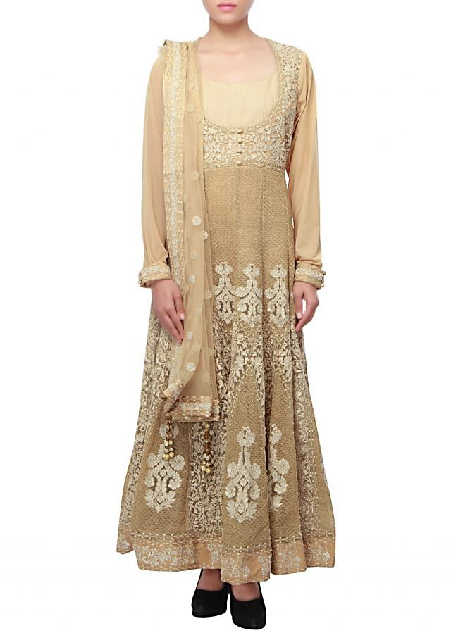 Gold anarkali embellished in thread and zari embroidery only on Kalki