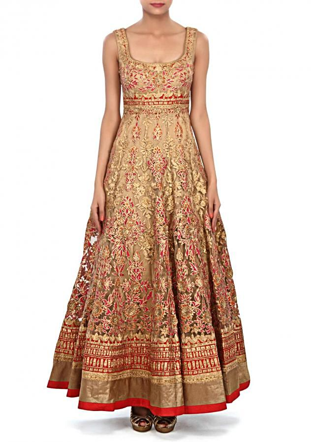 Gold anarkali suit embellished in gotta patti embroidery only on Kalki