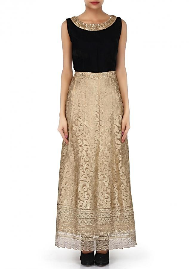 Gold anarkali suit featuring in olive embroidered yoke only on Kalki