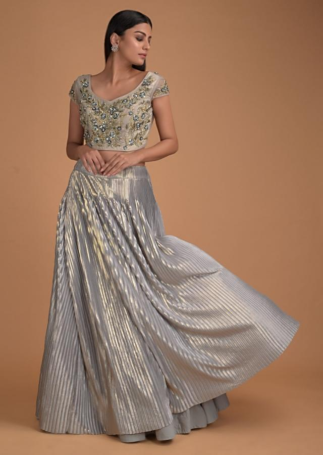Gold And Grey Lehenga And Crop Top With Ruffle Drape In Organza Online - Kalki Fashion
