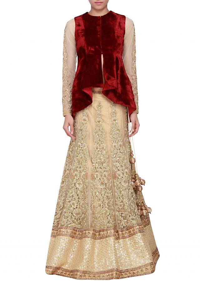 Gold and maroon jacket lehenga featured in velvet and net embellished in zardosi only on Kalki
