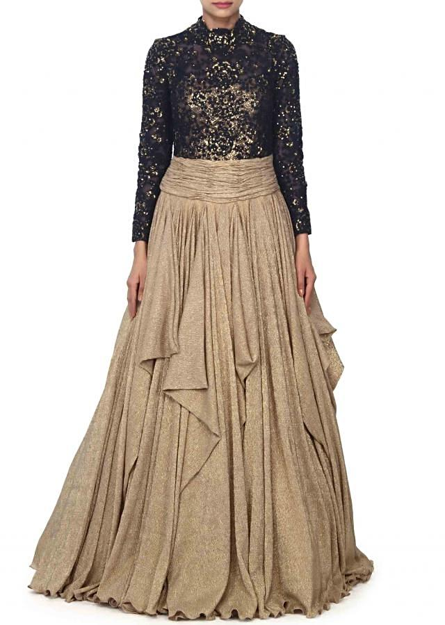 Gold and navy blue gown enahcned in thread and squin embroidery only on Kalki
