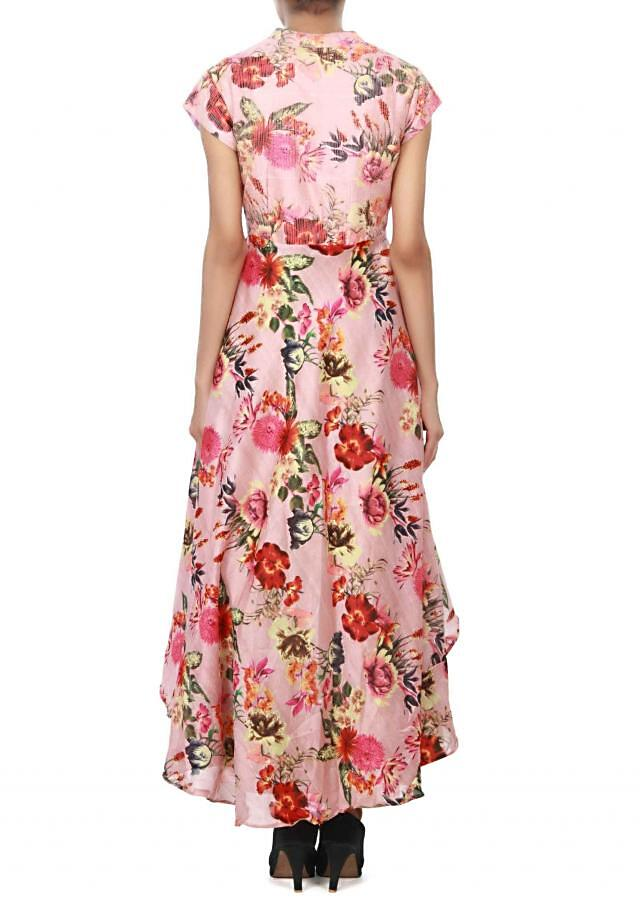 Gold and pink floral printed suit enhanced in peacock motif embroidery only on Kalki