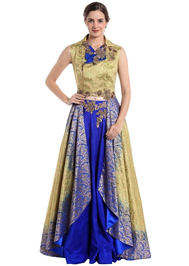 Gold and royal blue raw silk and brocade skirt top with zari work only on Kalki