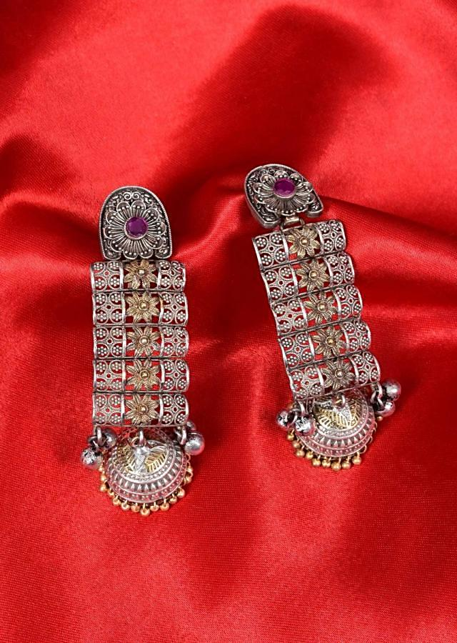 Gold and silver shaped oxidized dangler earring with  jhumkas drop only on Kalki