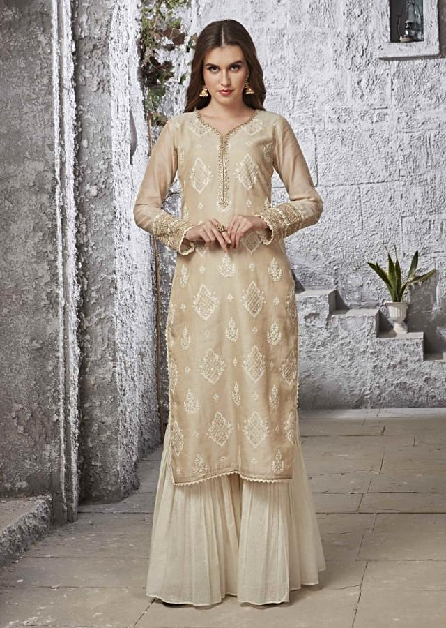 Gold Beige Suit With Off White Cotton Sharara And Net Dupatta Online - Kalki Fashion