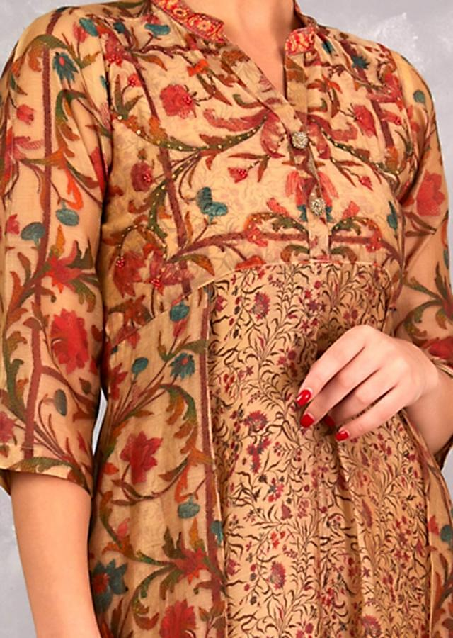 Gold Beige Tunic With Floral Print And Attached Jacket Design