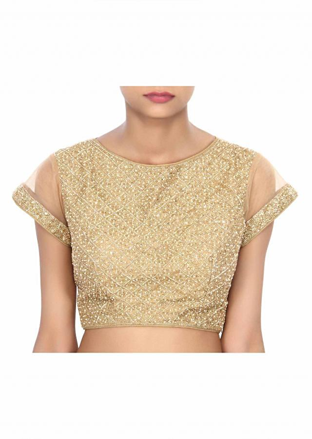 Gold blouse adorn in motif embroidery only on Kalki