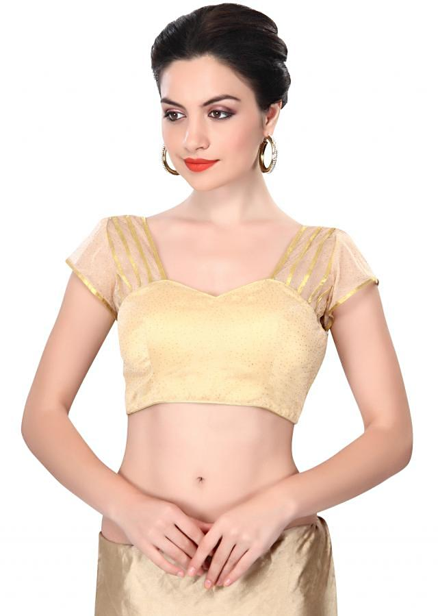 Gold blouse enhanced in gotta lace only on Kalki