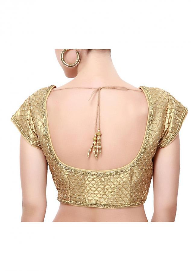 Gold blouse enhanced in kardana embroidery only on Kalki