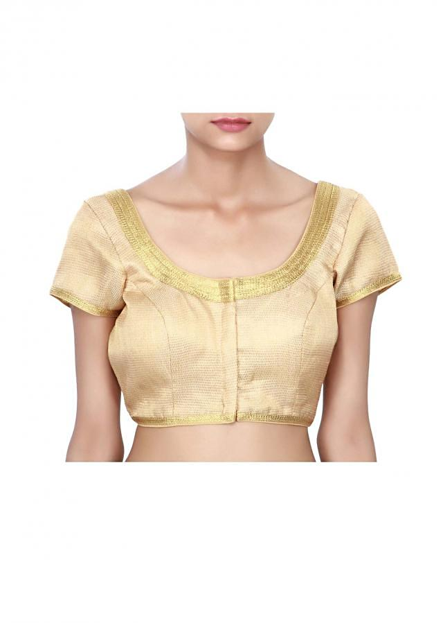 Gold blouse enhanced in zari lace only on Kalki