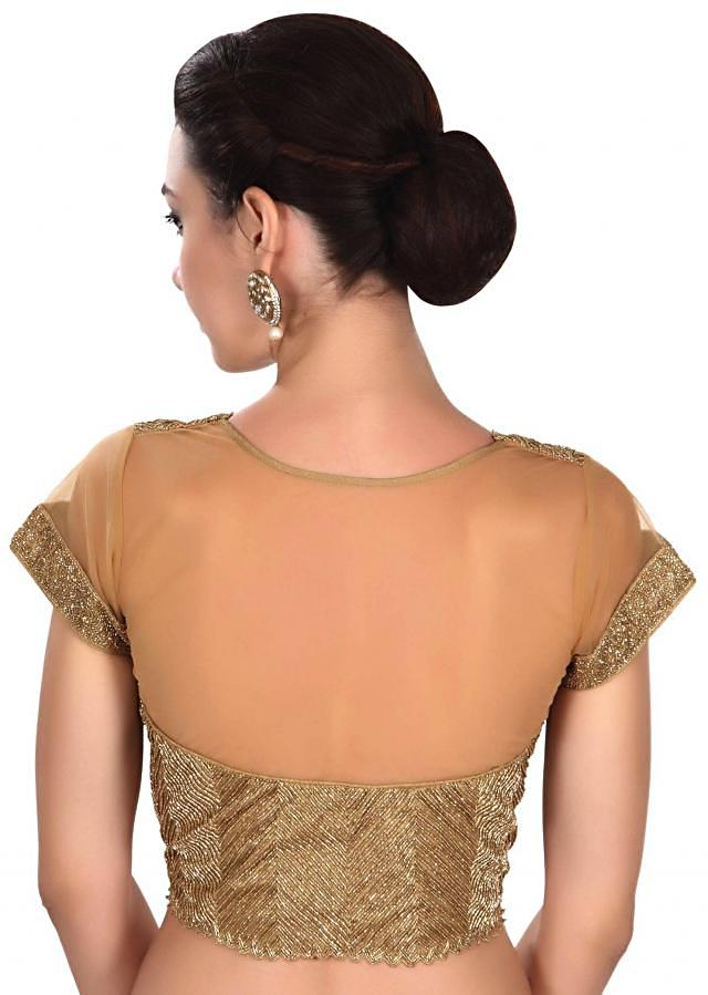 Gold blouse featuring in kardana embroidery only on Kalki