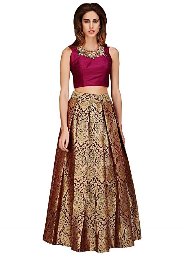 Gold brocade skirt with burgundy crop top only on Kalki