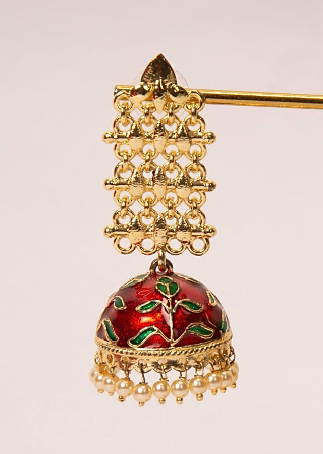 Gold cut out earring with blood red meenakari jhumkas