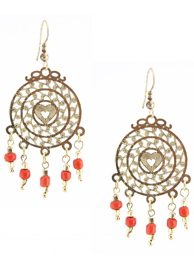 Gold earring featuring with red dangler only on Kalki