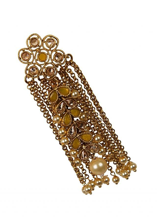 Gold-filled shoulder grazing danglers embellished in yellow stones only on Kalki