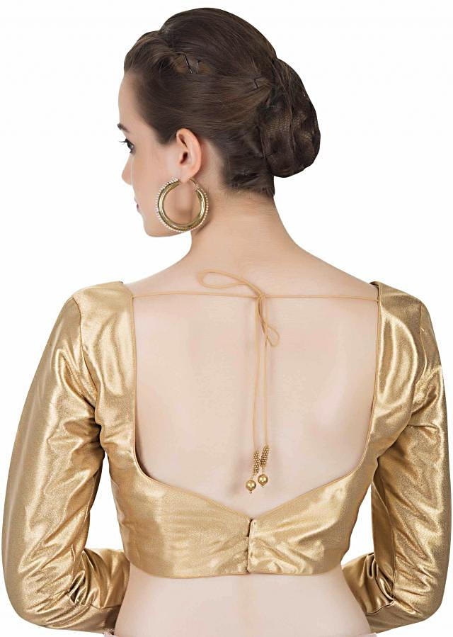 Gold Full Sleeved Saree Blouse in Silk Only on Kalki