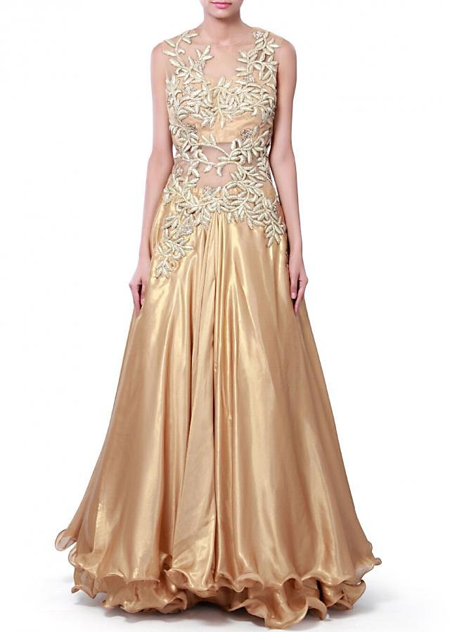 Gold gown adorn in gotta lace and kundan only on Kalki