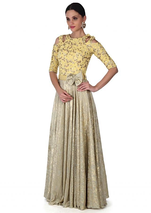 Gold gown adorn in thread and sequin embroidery only on Kalki
